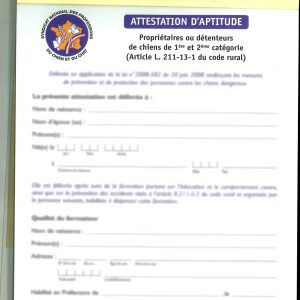 CARNET D'ATTESTATIONS D'APTITUDE